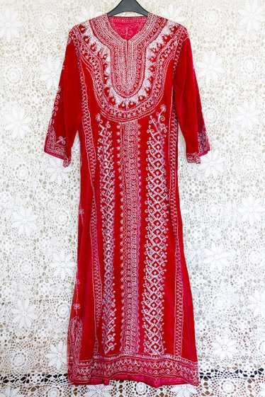 Embroidered Velvet Maxi Dress