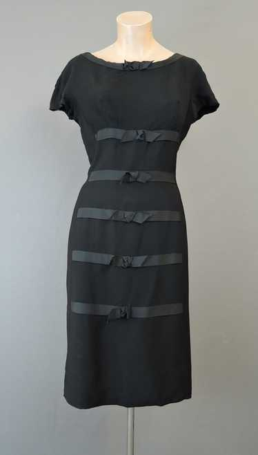 Vintage 1950s Black Dress with Ribbon & Bows, fits
