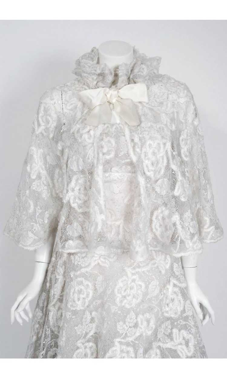 1968 Arnold Scaasi Couture White Embroidered Lace… - image 3