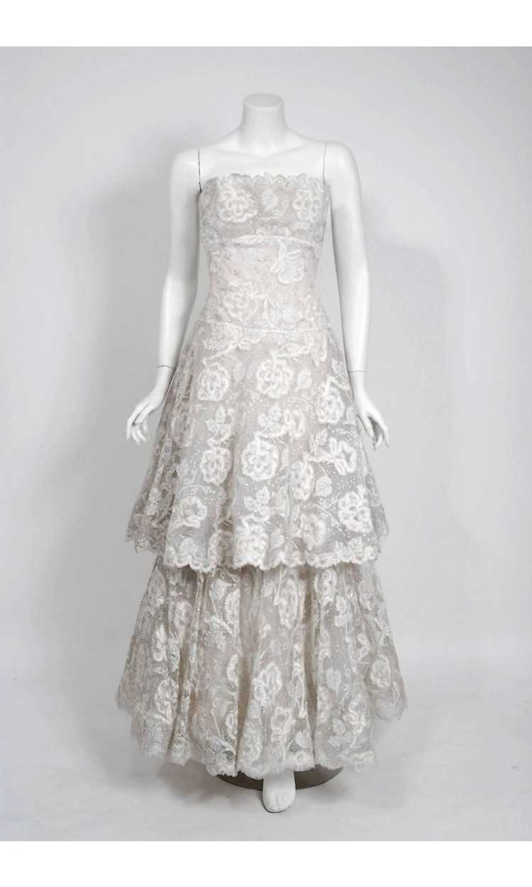 1968 Arnold Scaasi Couture White Embroidered Lace… - image 4