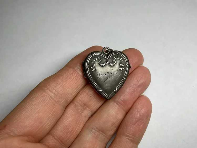 Antique French Lourdes silver tone Mary holy water charm for rosary