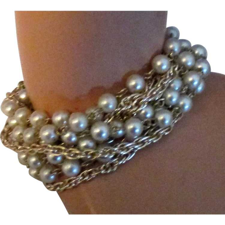 Vintage Signed Coro 10 Stand Faux Pearl and Chain… - image 1