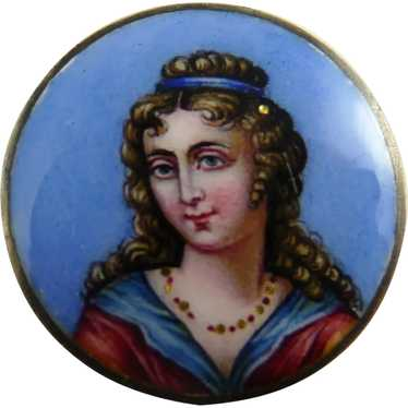 Antique Limoges Enamel Portrait Pin Brooch