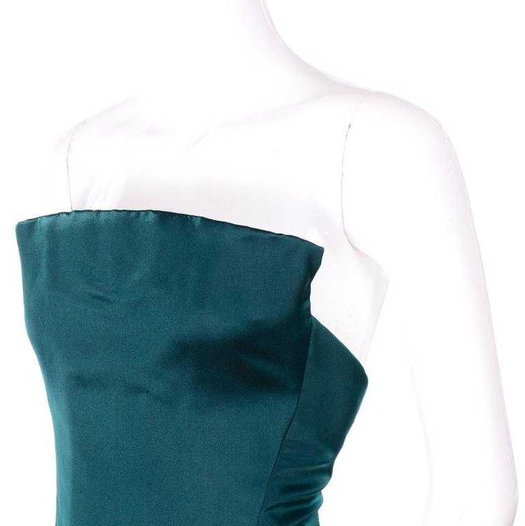 Arnold Scaasi Strapless Green Evening Gown W/ Vel… - image 6