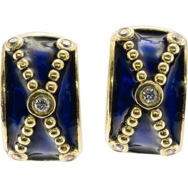 Geometric Earrings in Art Deco Style  Deep Blue Glass Cabochon and Sparkling Rhinestones