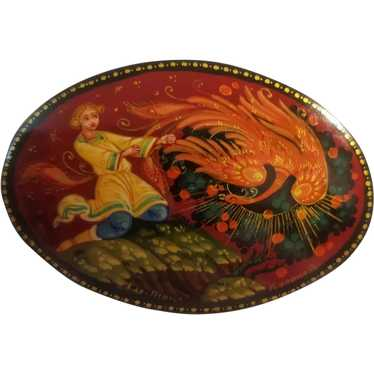 Artist signed Russian lacquer brooch