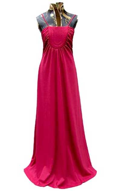 Cranberry trapunto gown