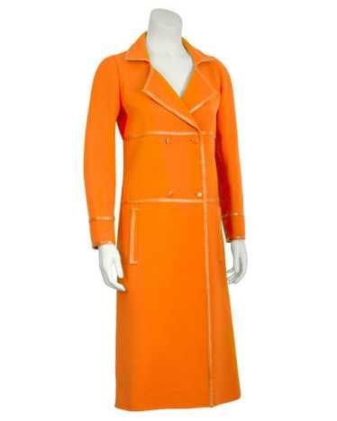 Courrèges Orange Mod Coat with Vinyl Trim