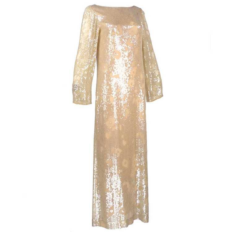 Vintage HALSTON 80s Nude Sheath Gown - image 2