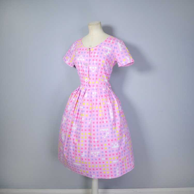 """50s 60s """"BANNER"""" PINK COTTON DAY DRESS WITH PASTE… - image 10"""