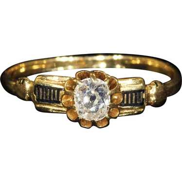 Antique French Gold Diamond Black Enamel Ring