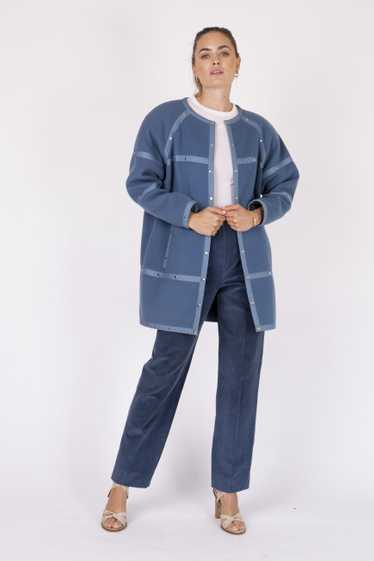 Courreges 70's felted cocoon coat with silver stud