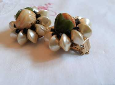 1950s CLIP-ON Earrings, Flower - Faux Yellow Pearl