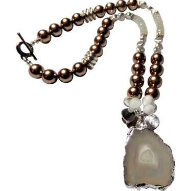 Agate Slice Pendant Necklace Black Geode Gold Plated Edge with Goldtone Chain 31-34 Inches Unisex