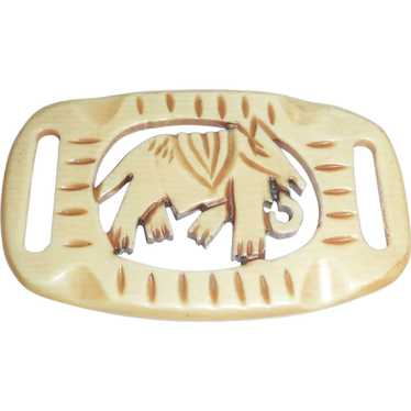Unusual Carved Celluloid Buckle Slide of an Elepha