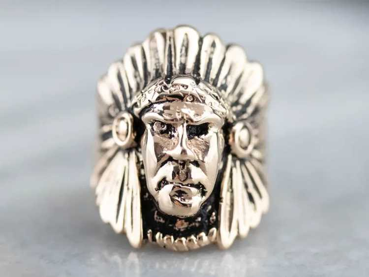 Native American Chief Statement Ring - image 2