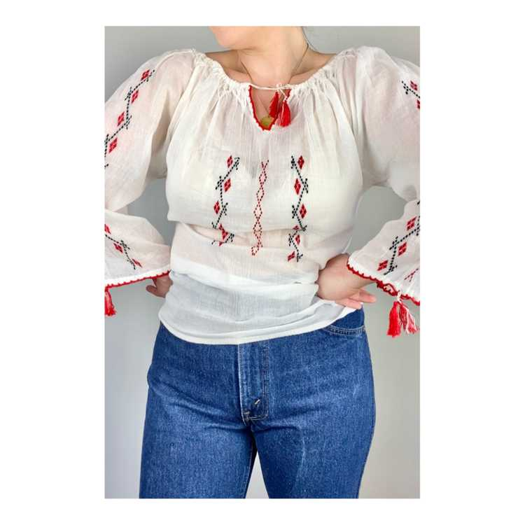 Hungarian Embroidered Vintage Blouse - image 5