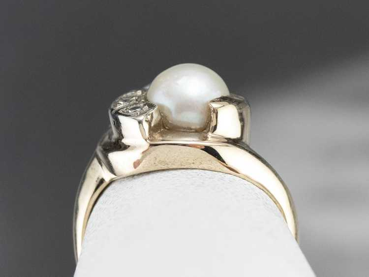Vintage Pearl and Diamond Ring - image 8