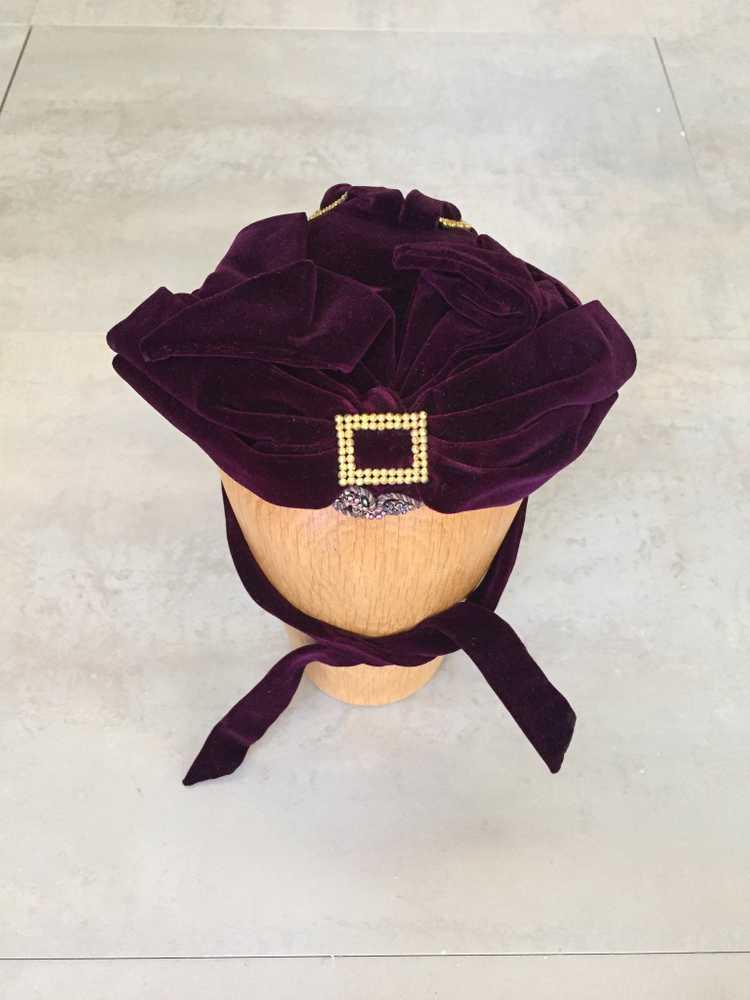 Purple Velvet Victorian Hat Bonnet - image 2