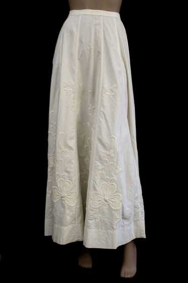 Hand-embroidered cotton walking skirt, c.1910