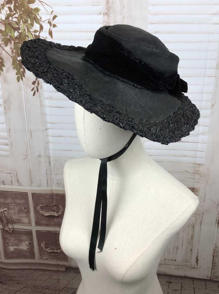 Original 1930s 30s Black Straw And Velvet Wide Br… - image 4