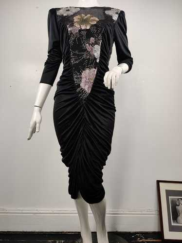 1980s Ruched, Bodycon Jersey Dress