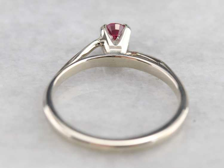 White Gold Ruby Solitaire Ring - image 5