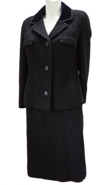 Vintage Norman Hartnell Elegant Black Boucle Skirt