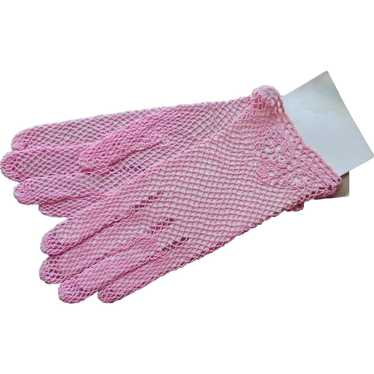 Crocheted Lace Gloves Bright Pink Vintage 1980s