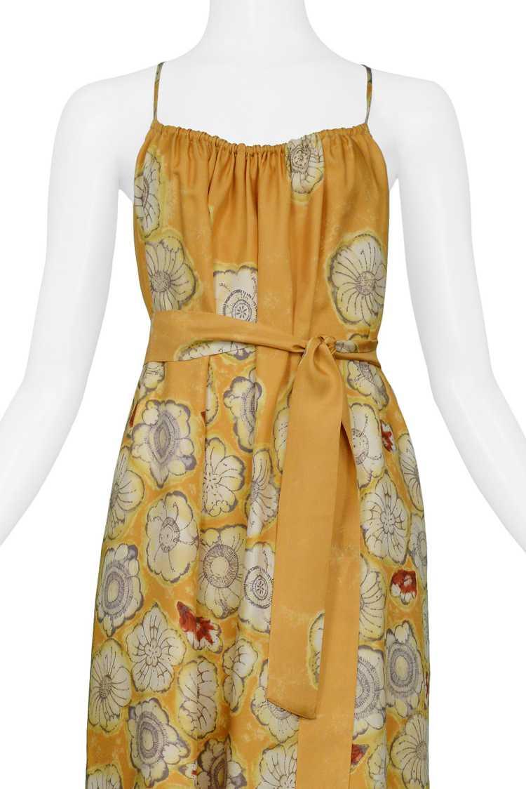 DRIES YELLOW GOLD FLORAL SLIP DRESS & SASH - image 3
