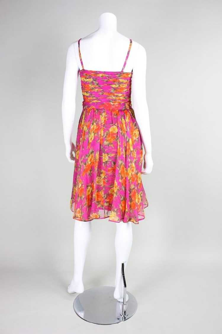 Valentino Cocktail Dress 1990's Floral Printed Si… - image 5