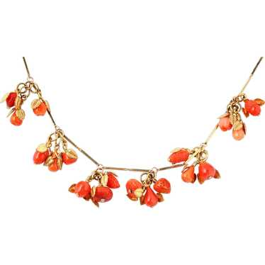 Vintage necklace with italian coral fruit