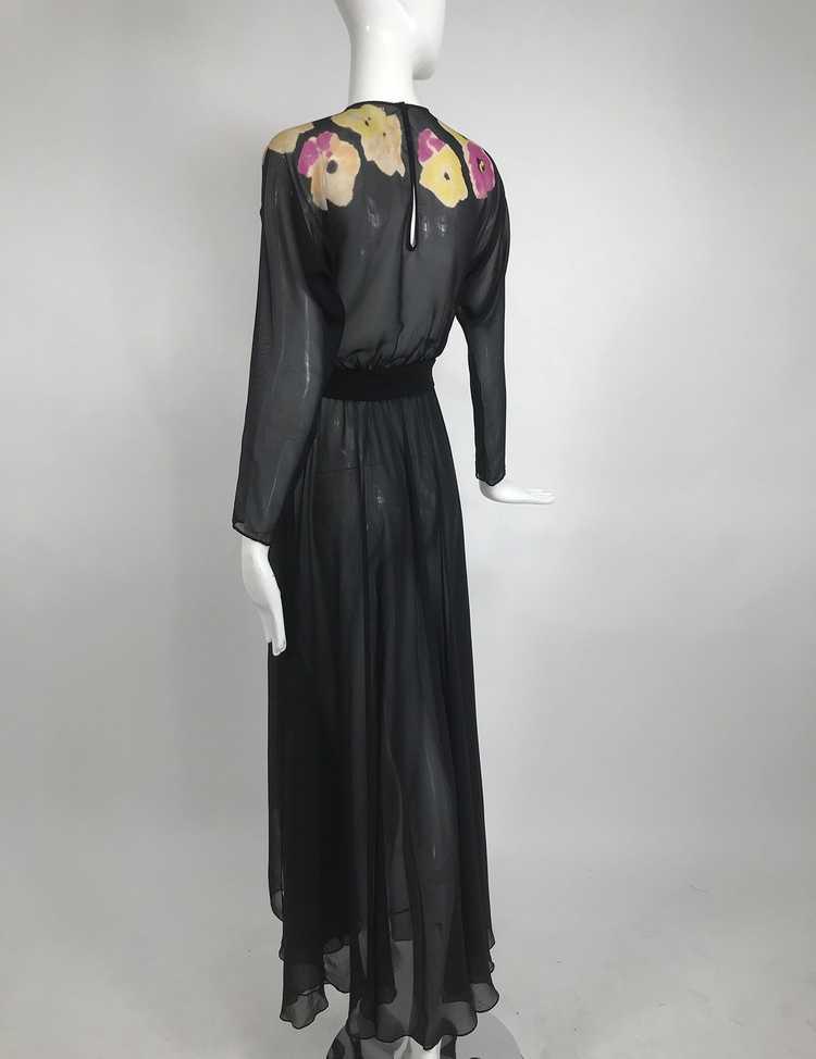 Vintage 1930s Floral Print Bias Cut Black Silk Ch… - image 5