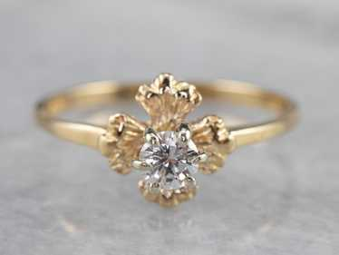 Floral Diamond and Gold Solitaire Ring - image 1
