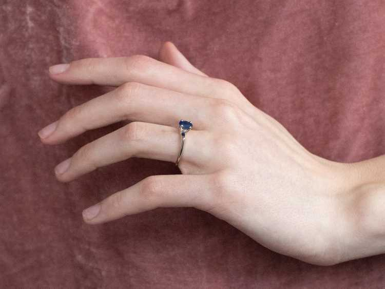 White Gold Sapphire Solitaire Ring - image 10