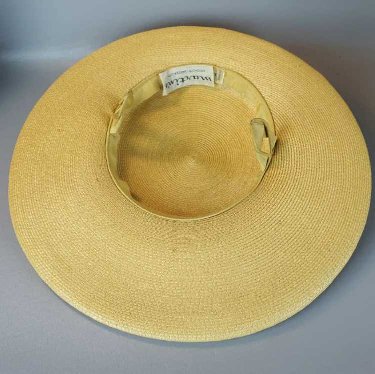 1950s Natural Straw Wide Brim Picture Hat - image 9