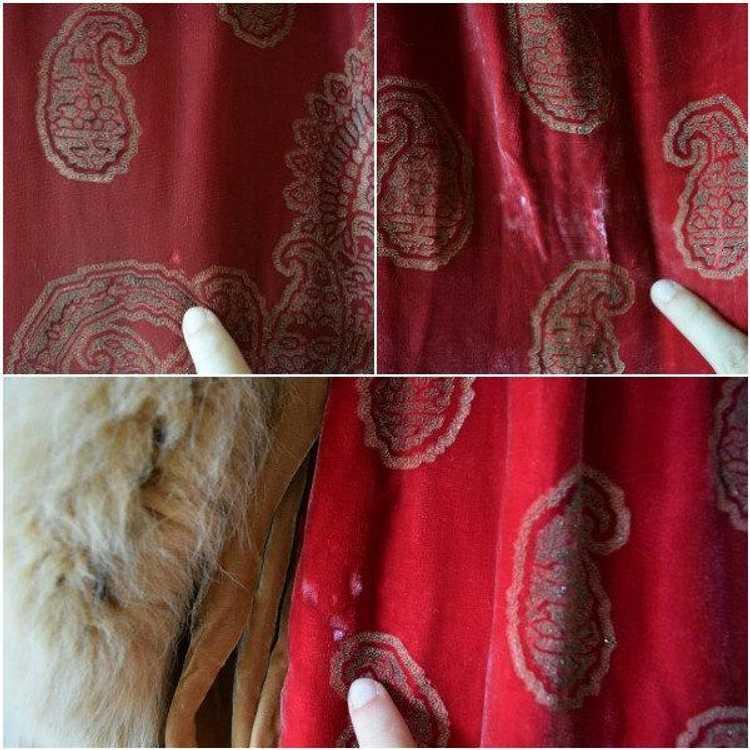 1920s silk velvet cape . vintage 20s stenciled ve… - image 5