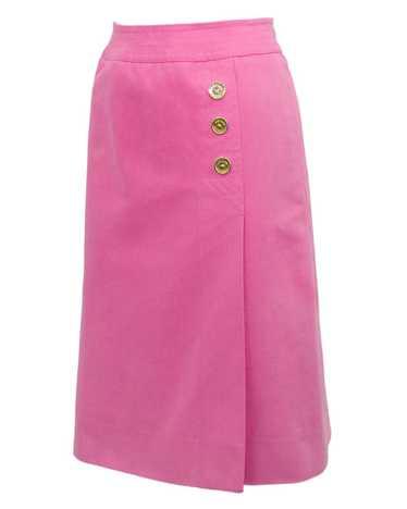 Celine Pink Cotton Denim Wrap Skirt