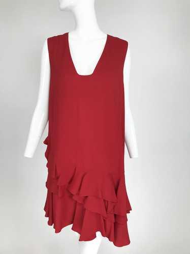 Lanvin Cherry Red Silk Blend Crepe Chemise Dress - image 1