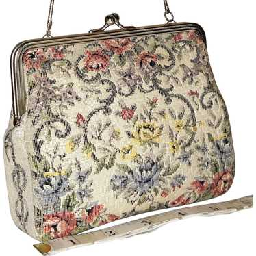Vintage 1950's Tapestry Floral Evening Bag from We