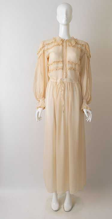 Ethereal 1930s Georgette Crepe Dressing Gown