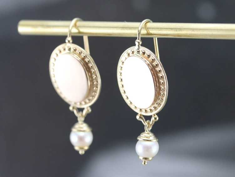 Vintage Yellow Gold and Pearl Drop Earrings - image 9