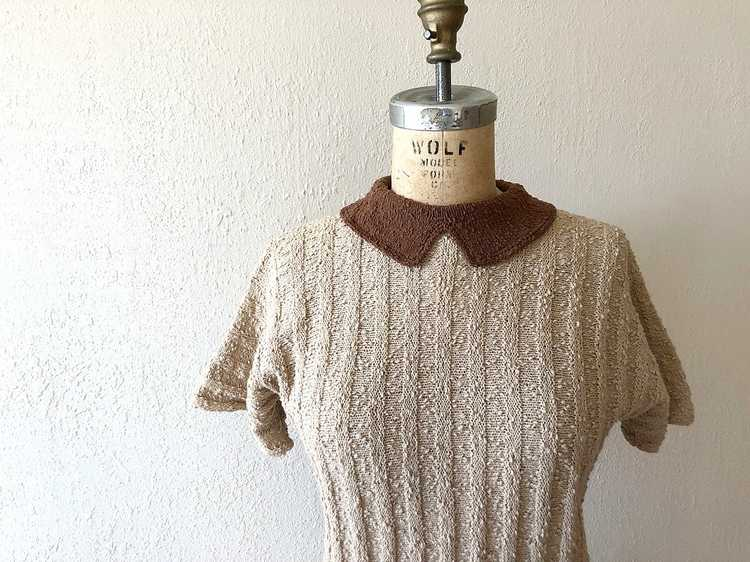 1940s knit top . vintage 40s wool knit sweater - image 2