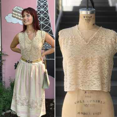 Antique Sleeveless Lace Blouse