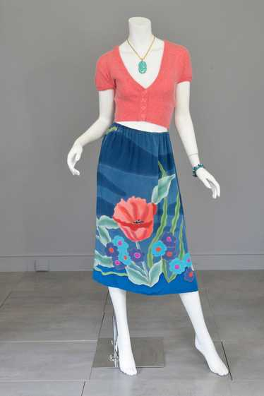 1970s Hand Dyed Painted Poppy Floral Print Silk Sk