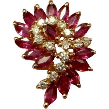 Ruby Diamond Cluster Ring 14K Yellow Gold Long Big