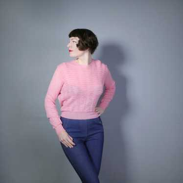 40s GEANCO PINK DELICATE POINTELLE LACE KNIT JUMP… - image 1