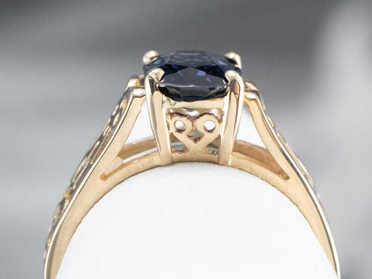 Sapphire Gold Filigree Solitaire Ring - image 8