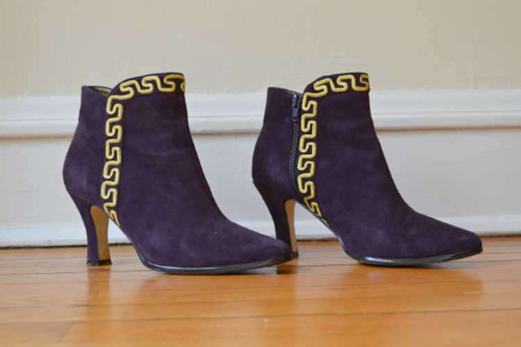 1980's Purple Suede Boots - image 7