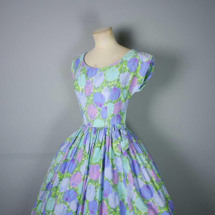 50s FLORAL ROSE DRESS IN BLUE, GREEN AND LILAC CO… - image 8